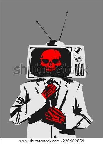 TV Skeleton in a suit - stock vector