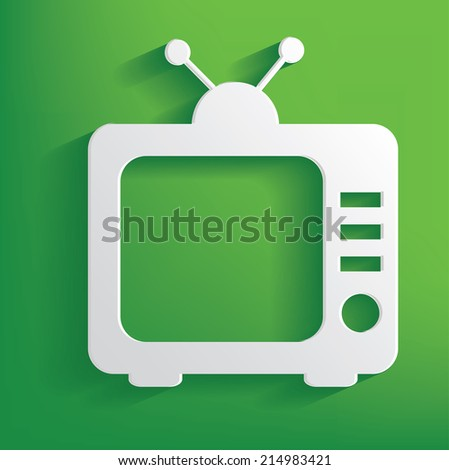 TV symbol on green background,clean vector