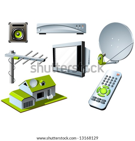 TV system - remote control, tv set and satellite - stock vector