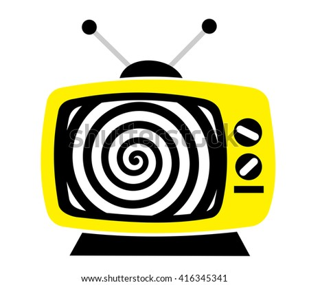 TV, television as influential mass culture - hypnotic spiral on the screen. Metaphor of brainwashing and manipulation caused by watching TV and its mainstream broadcasting (reality show, soap opera) - stock vector