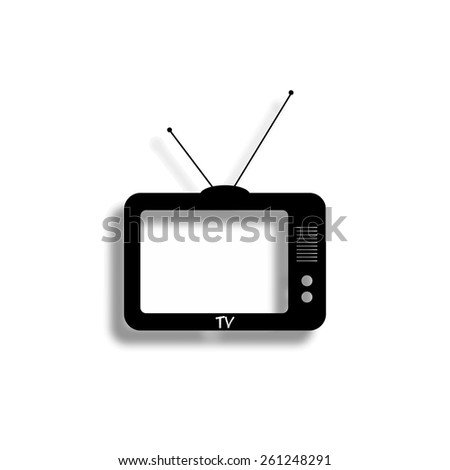 TV vector icon with shadow - stock vector
