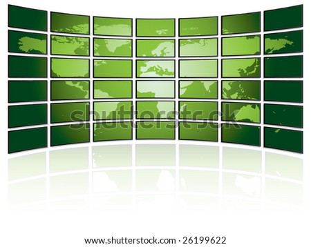TV wall with world map - stock vector