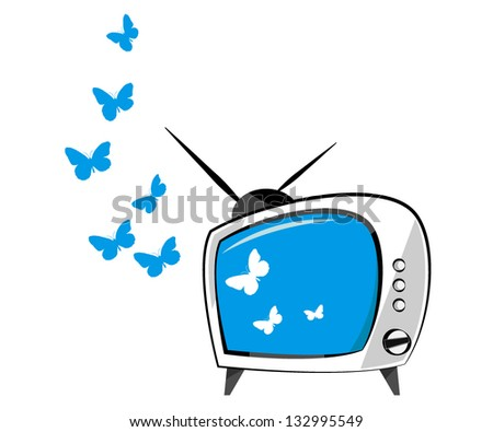 Tv with color screen on white - stock vector