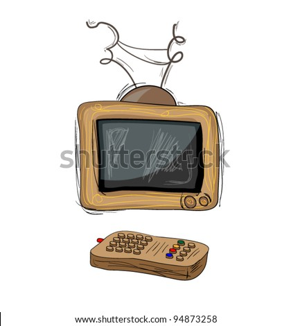 TV with remote control hand drawn