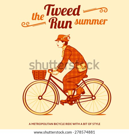 Tweed run retro cycling event poster - stock vector