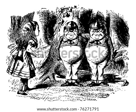 Tweedledum and Tweedledee - Through the Looking Glass and what Alice Found There original book engraving. They were standing under a tree, each with an arm round the other?s neck. - stock vector