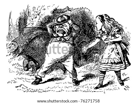Tweedledum Stomps and Tears His Hair - Through the Looking Glass and what Alice Found There original book engraving. - stock vector