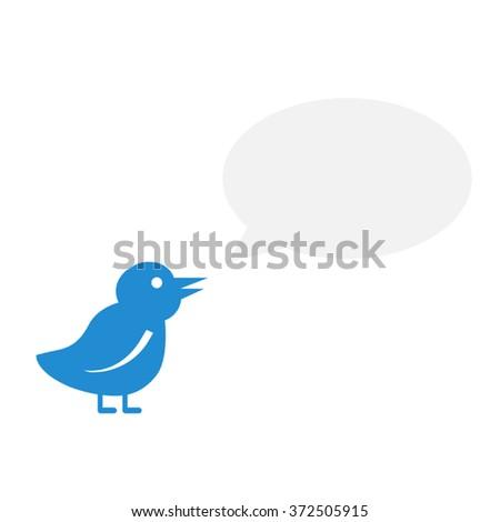 Tweet Bird With A Speech Bubble - stock vector