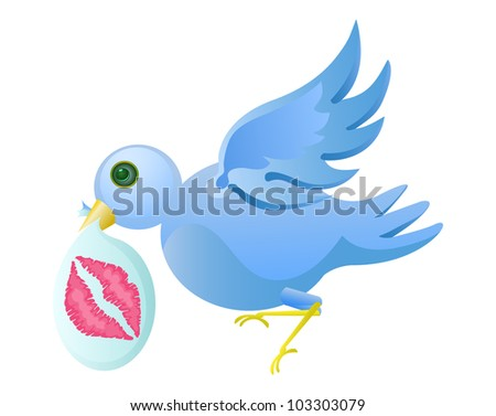 tweet bird with lips stamp in plastic isolated on white