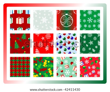 Twelve Christmas themed seamless designs - stock vector