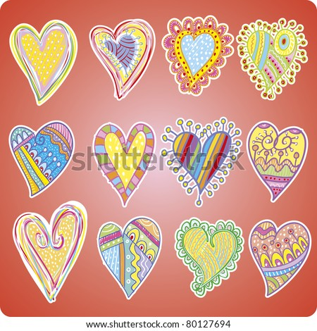 Twelve colored hearts made of doodle designs.  Useful for valentine situations
