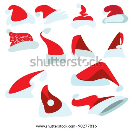 Twelve drawings of red Christmas hats for Santa - stock vector