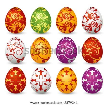 Twelve easter eggs - stock vector
