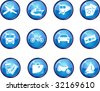 Twelve Glossy Vector Travel Icons. - stock vector