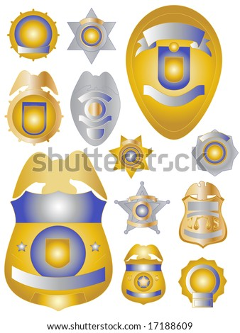 Twelve Gold Brass and Tin Coloured Police Badges Shields USA Styles - stock vector