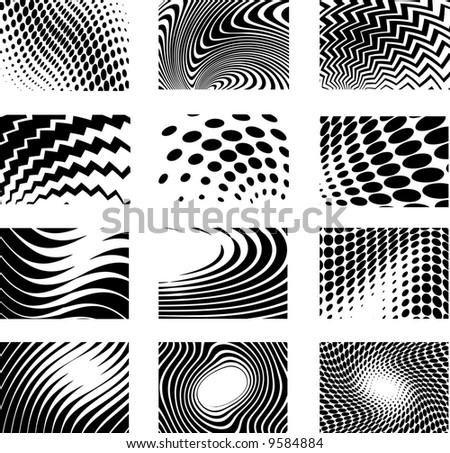 twelve high detailed computer generated background - stock vector