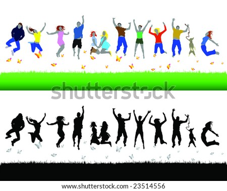 twelve high quality vector of happy people jumping - stock vector