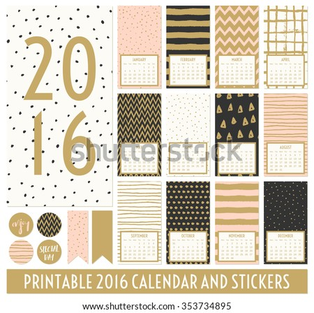Twelve month 2016 calendar template. Hand drawn patterns in black, gold, pastel pink and cream. Matching round stickers and ribbons. - stock vector