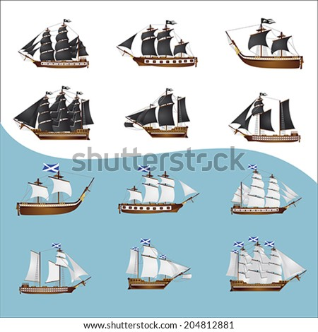 Twelve old pirate ships. Six with black sails and six with white sails  - stock vector