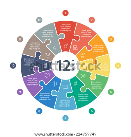 Twelve sided, numbered flat rainbow spectrum colored puzzle presentation infographic chart with explanatory text field isolated on white background. Vector graphic template. - stock vector