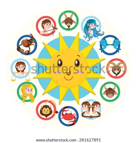 Twelve signs of the Zodiac illustration version 2 - stock vector