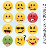 Twelve smileys, each with its own facial expression, including cool, sick, and in love. - stock vector