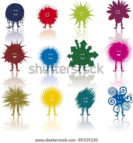 Twelve strange characters with different hairstyle - stock vector