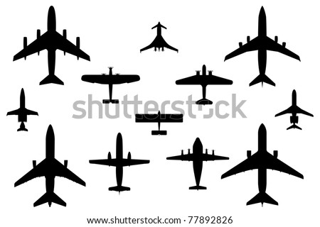 Twelve Vector Silhouette Illustrations of Commercial Airplanes - stock vector