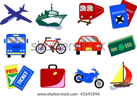 Twelve vector travel icons, also available as buttons. - stock vector