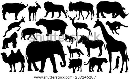 twenty african mammal silhouettes on the white background - stock vector