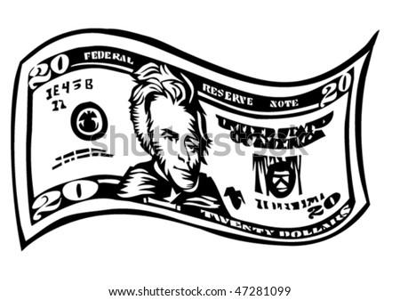 twenty dollar bill - stock vector