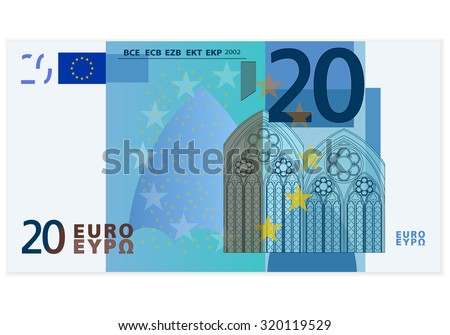 Twenty euro banknote on a white background. - stock vector