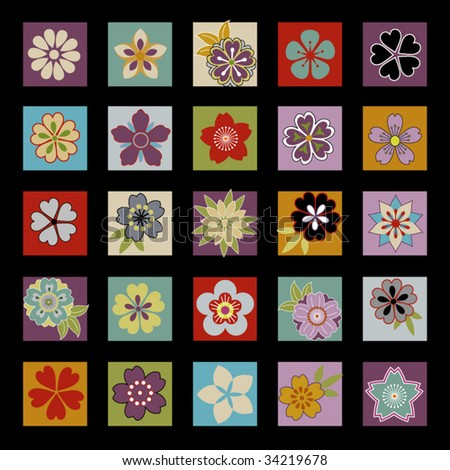 twenty five asian flowers and floral icons laid out in a grid - stock vector