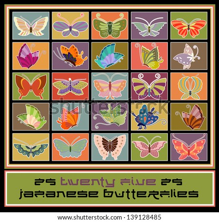 Twenty Five Japanese Butterflies - stock vector
