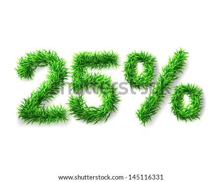 twenty five percent discount icon. Green grass numerals. Vector illustration - stock vector