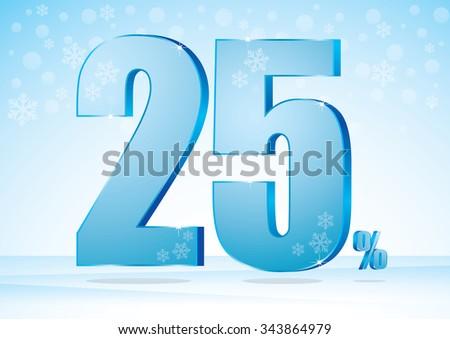 twenty-five percent on snow background  - stock vector