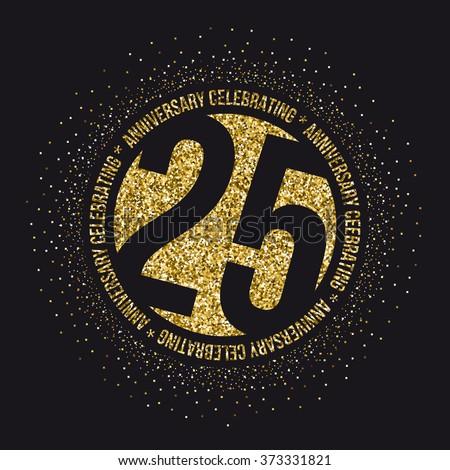 Twenty five years anniversary celebration logotype. 25th anniversary logo. - stock vector
