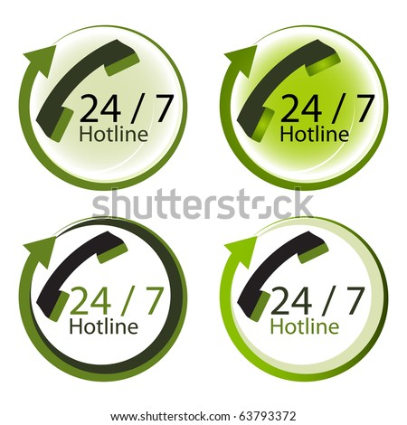 Twenty four hours by seven days hot line service concept. - stock vector