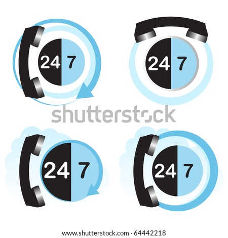 Twenty four hours by seven days hotline service concept. - stock vector