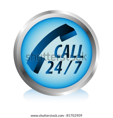 Twenty four hours by seven days phone hotline service button. - stock vector