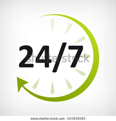 twenty four hours open icon. customer support - stock vector