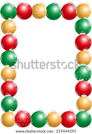 Twenty-four shiny christmas tree balls, some with snow flake ornament, that form a frame - vertical portrait format. Isolated vector illustration on white background. - stock vector