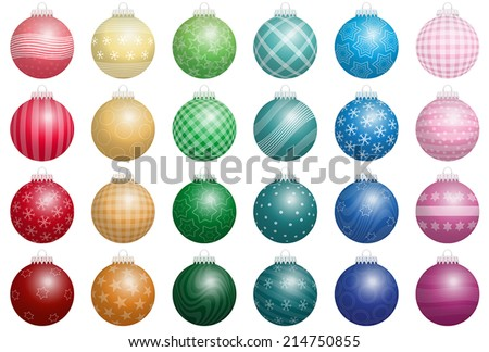 Twenty-four shiny Christmas tree balls with various ornaments - a kind of an advent calendar. Isolated vector illustration on white background. - stock vector