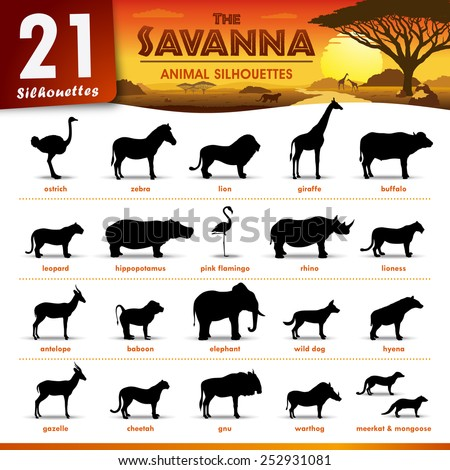 Twenty one Savanna animal silhouettes - stock vector