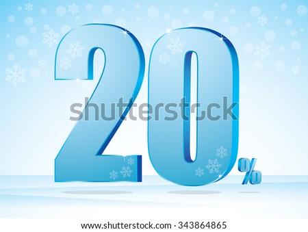 twenty percent on snow background - stock vector
