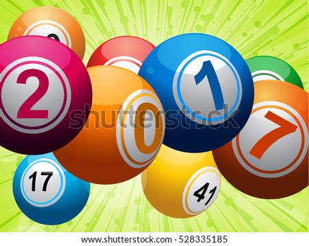 Twenty Seventeen Bingo Balls Over Glowing Festive Background with Ribbons and Bow