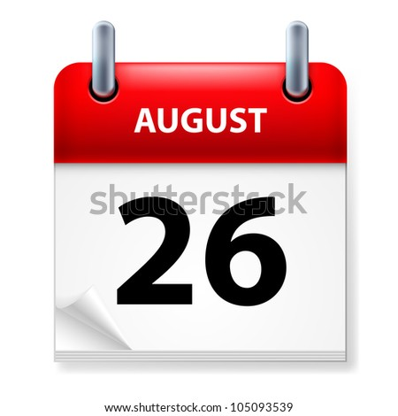 Twenty-Sixth August in Calendar icon on white background - stock vector