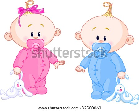 Twin Baby Boy And Girl With Pacifiers and Toys - stock vector