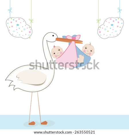 Twin baby with stork, baby arrival card vector