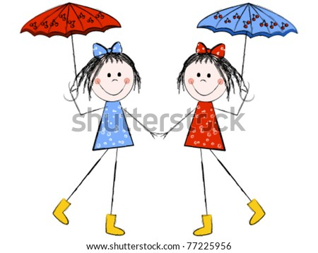 Twin girls with umbrellas holding hands